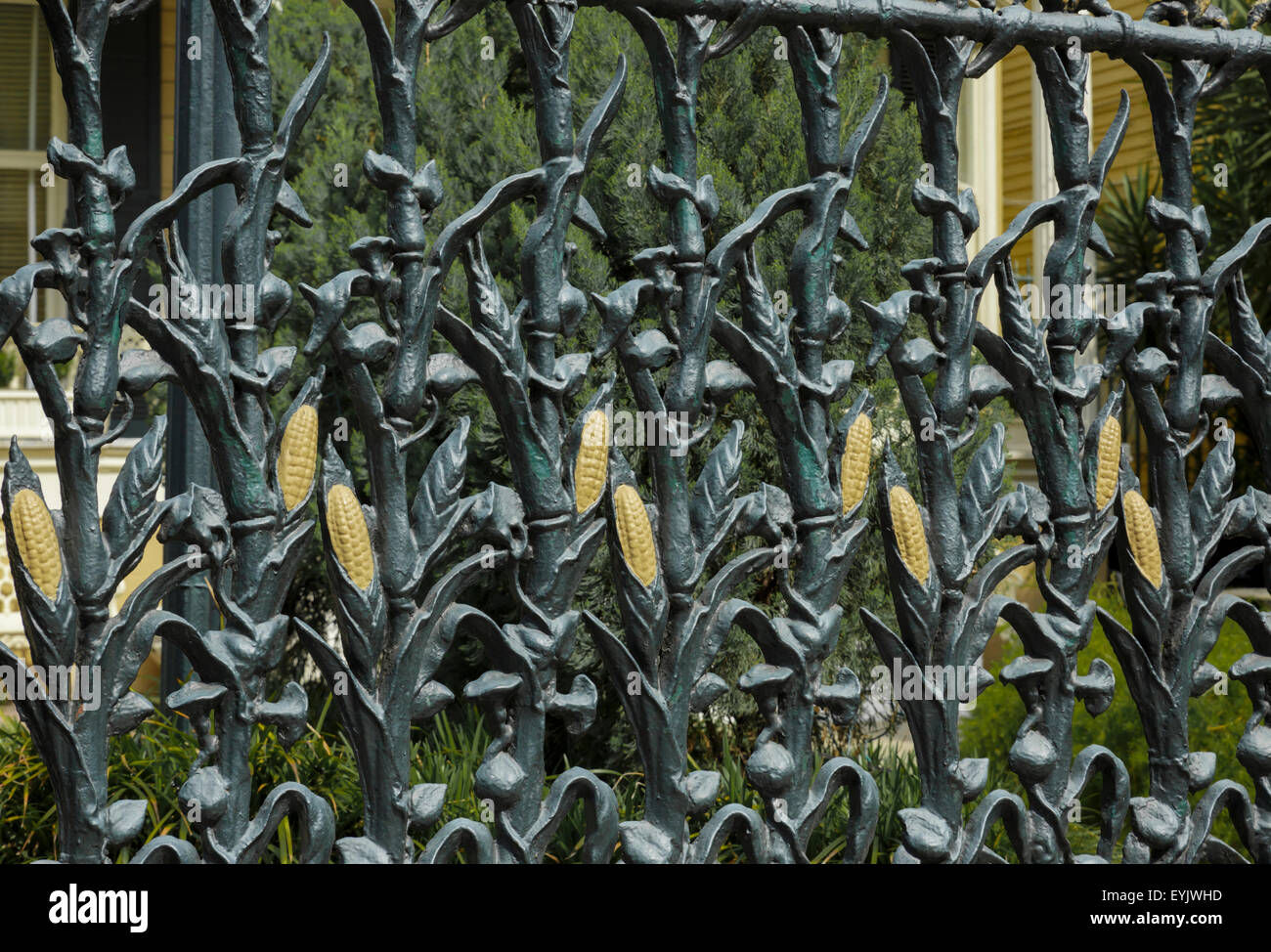 Ears Of Corn Pattern In A Wrought Iron Fence In New