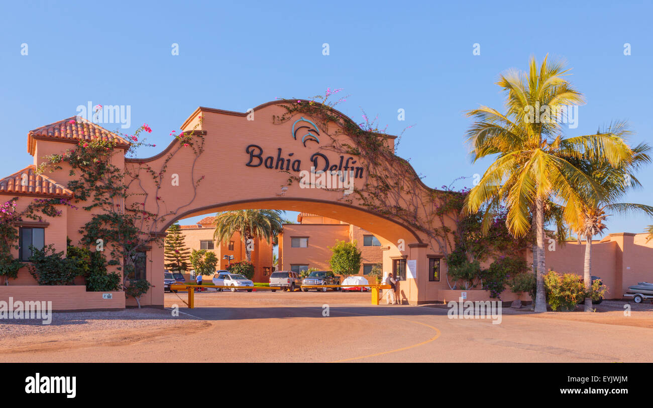 Entrance to Bahia Delfin, San Carlos Mexico. Many U.S. and Canadian expats spend their winters at this warm, sunny - Stock Image