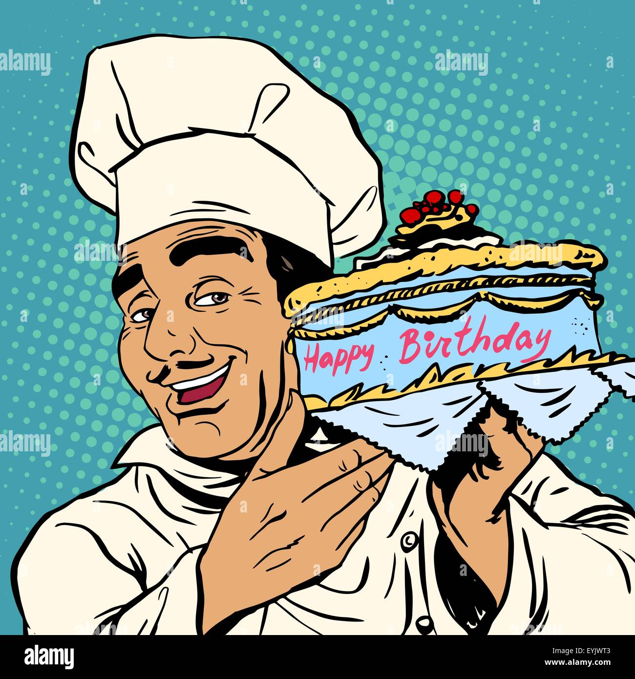 Excellent Pastry Chef With Birthday Cake The Italian Man Happily Offers A Personalised Birthday Cards Beptaeletsinfo