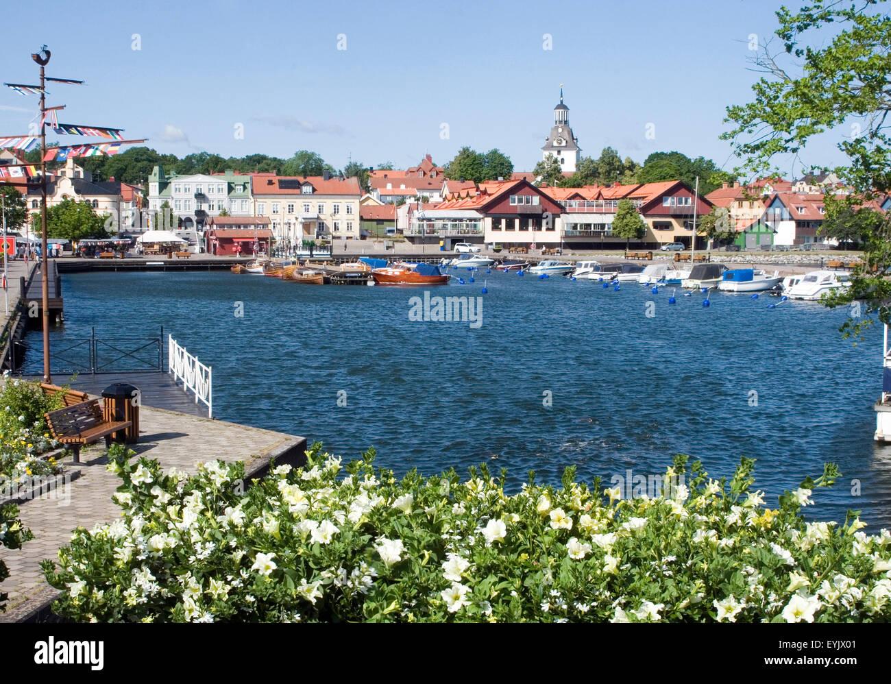 vastervik sweden summer summertime swedish coastal town towns smaland harbour harbor picturesque - Stock Image