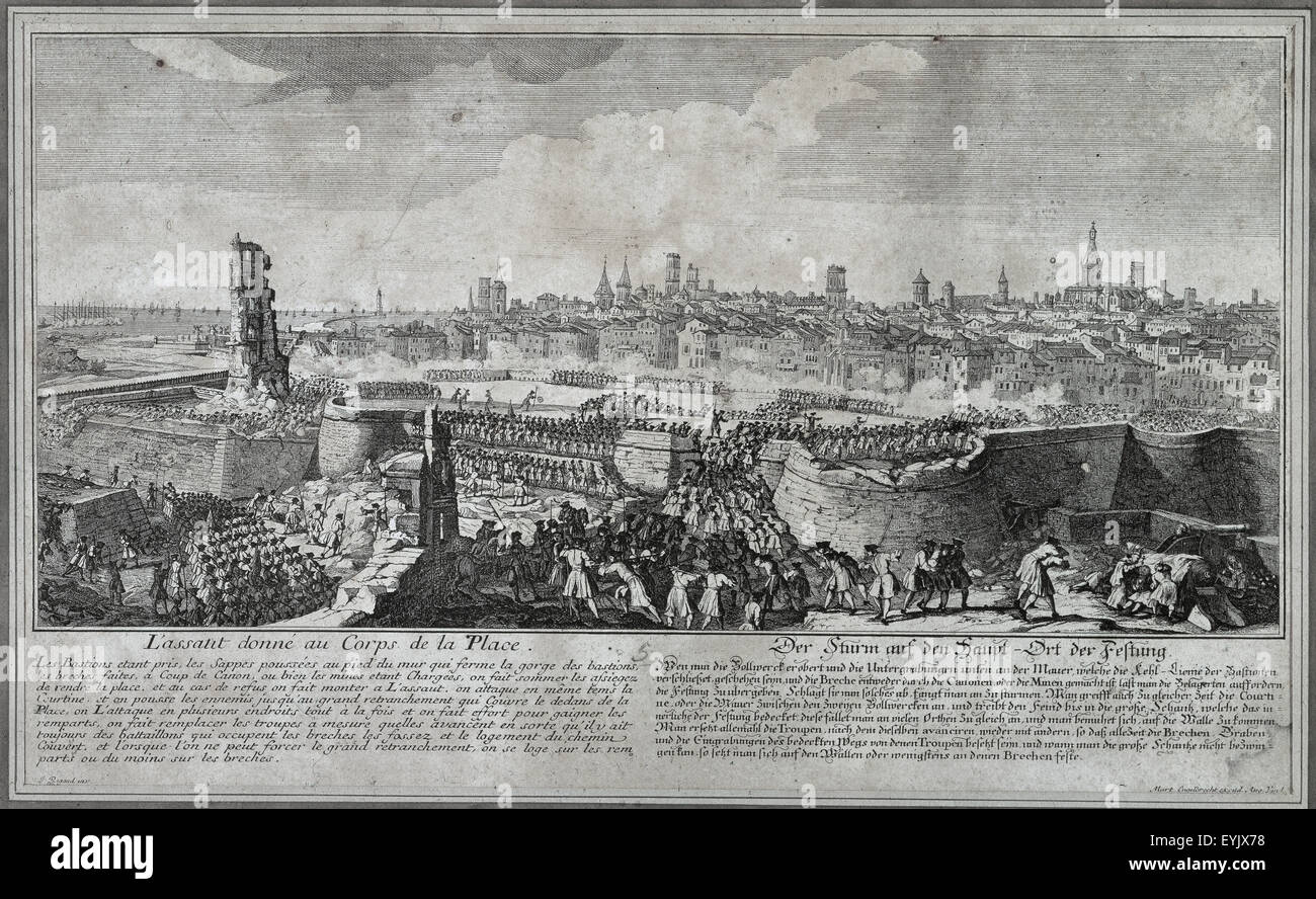 War of Spanish Succession (1702-1715). Entry of the troops of Philip V in Barcelona in 1714, opening gaps in the wall of the city with guns and mines, to render the place. Drawing by P. Rigaud and engraving by M. Engelbrecht, 1722. Historical Museum of Barcelona. Catalonia. Spain. Stock Photo