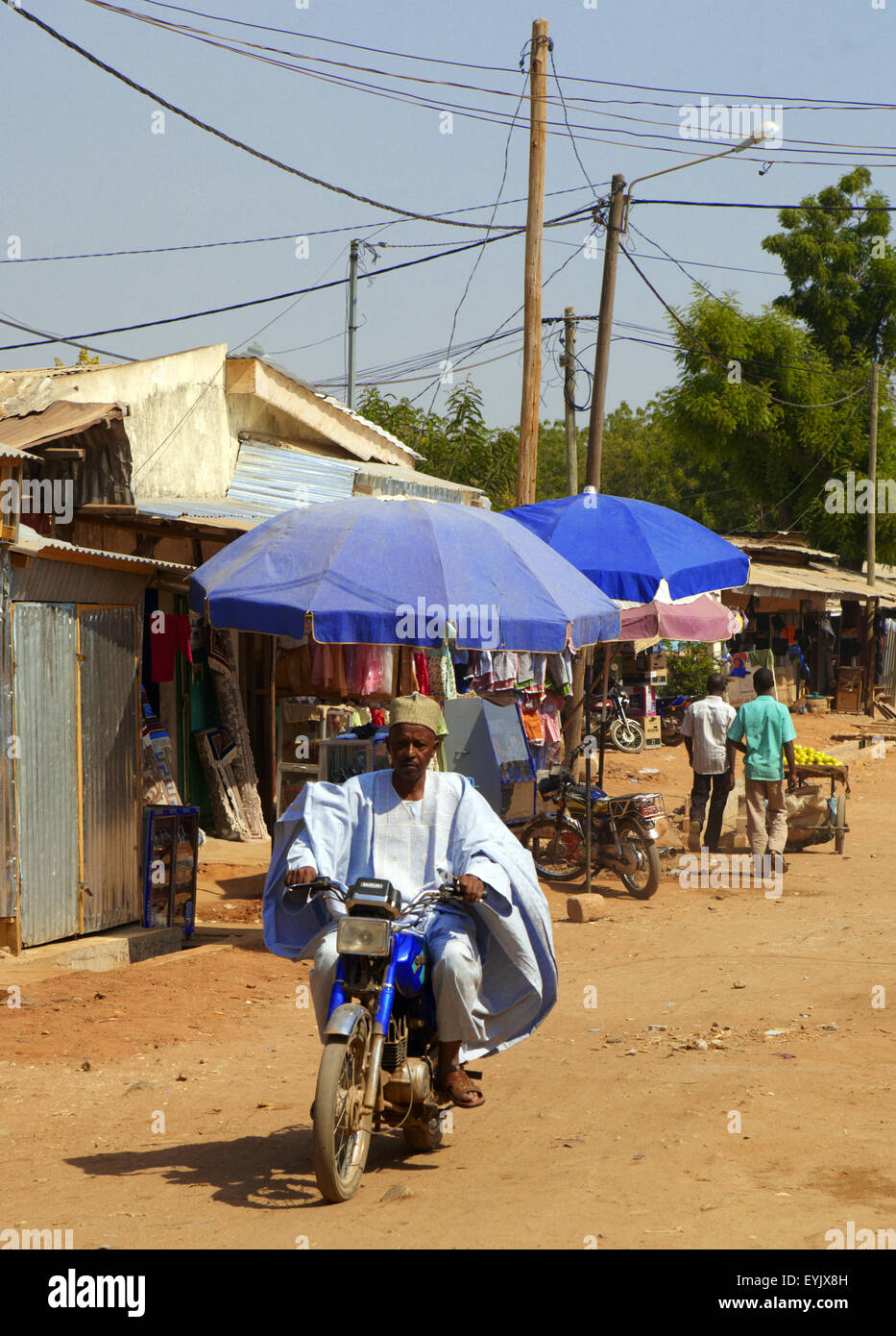 Africa, Cameroon, North Province, Garoua city, the market andthe moto taxis - Stock Image