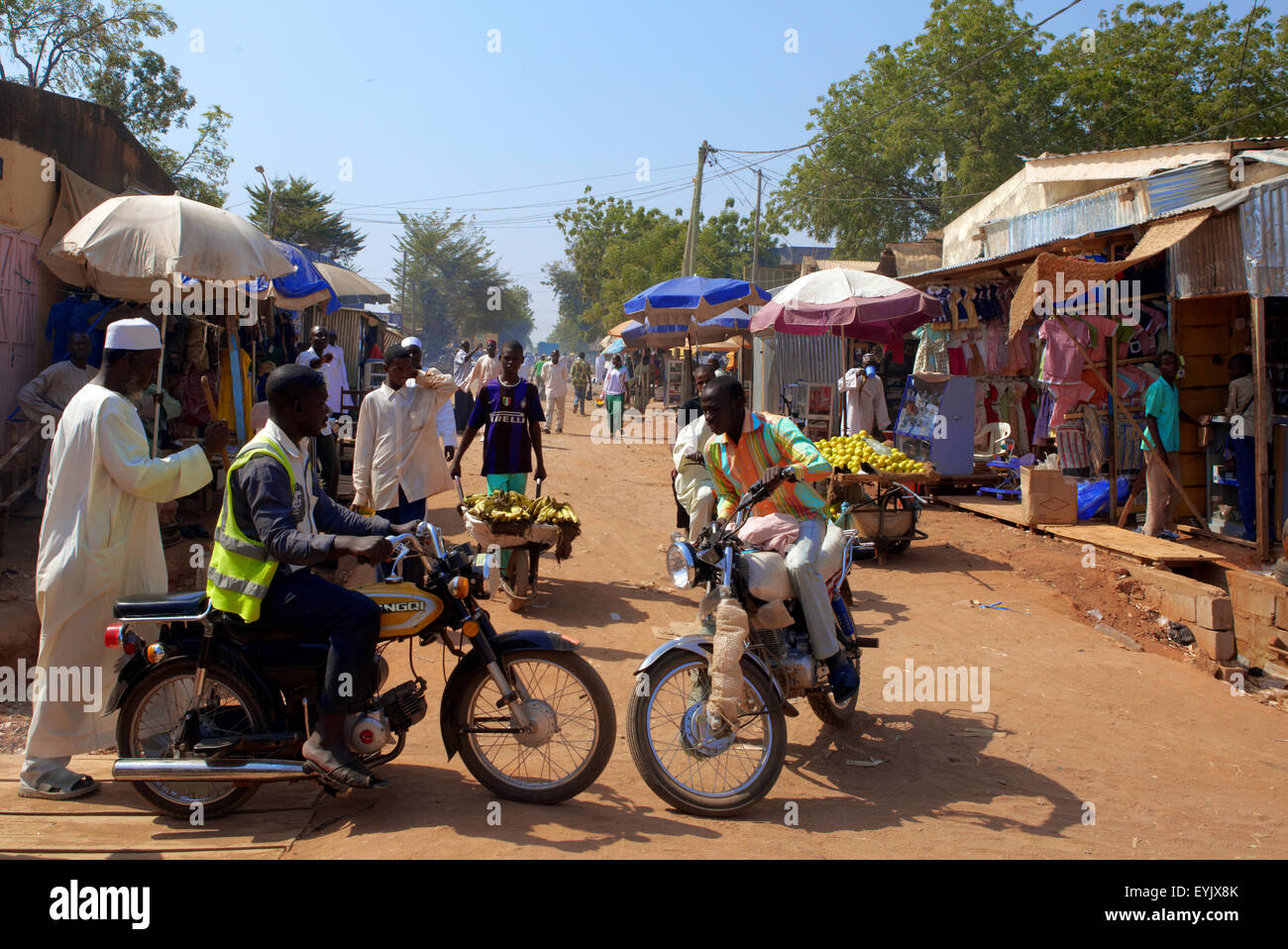 Africa, Cameroon, North Province, Garoua city, the market and the traffic with the moto taxis - Stock Image