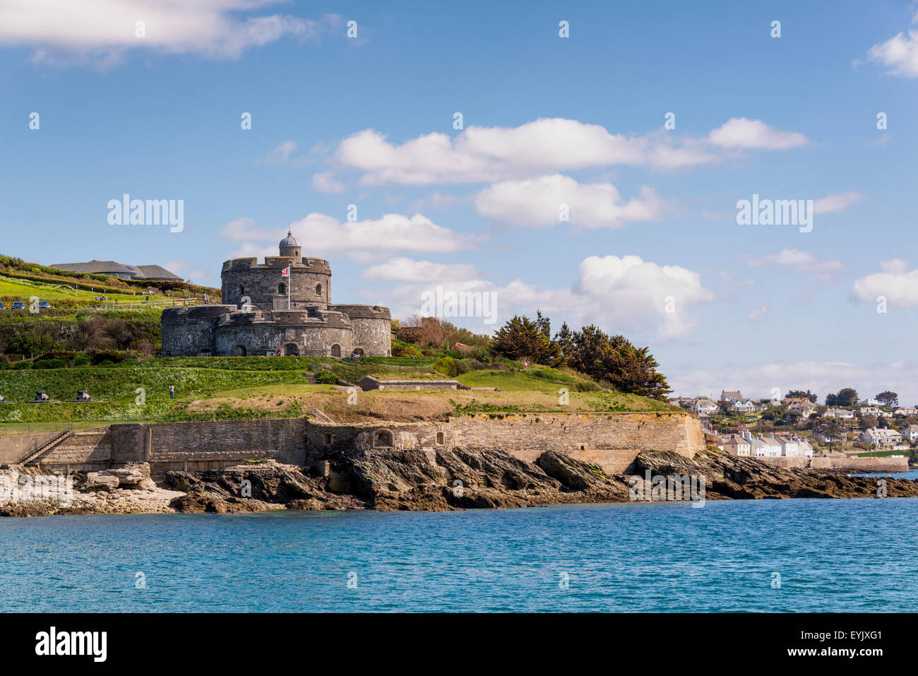 St Mawes castle on the Fal estuary built by Henry VIII  guarding the anchorage of Carrick Roads - Stock Image