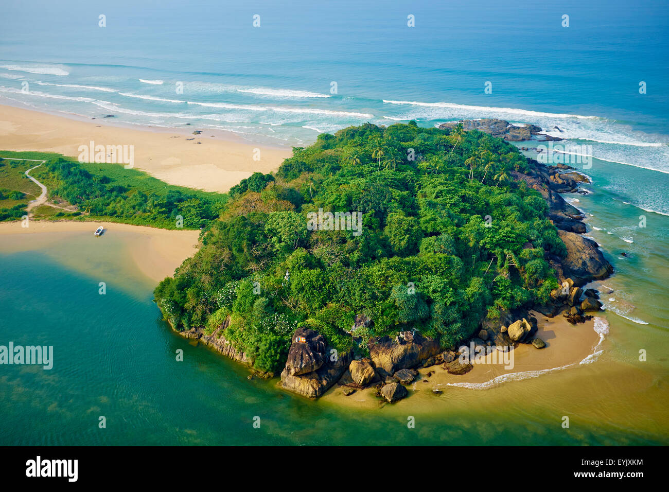 Sri Lanka, West Coast, Bentota, beach and river of Bentota, aerial view Stock Photo