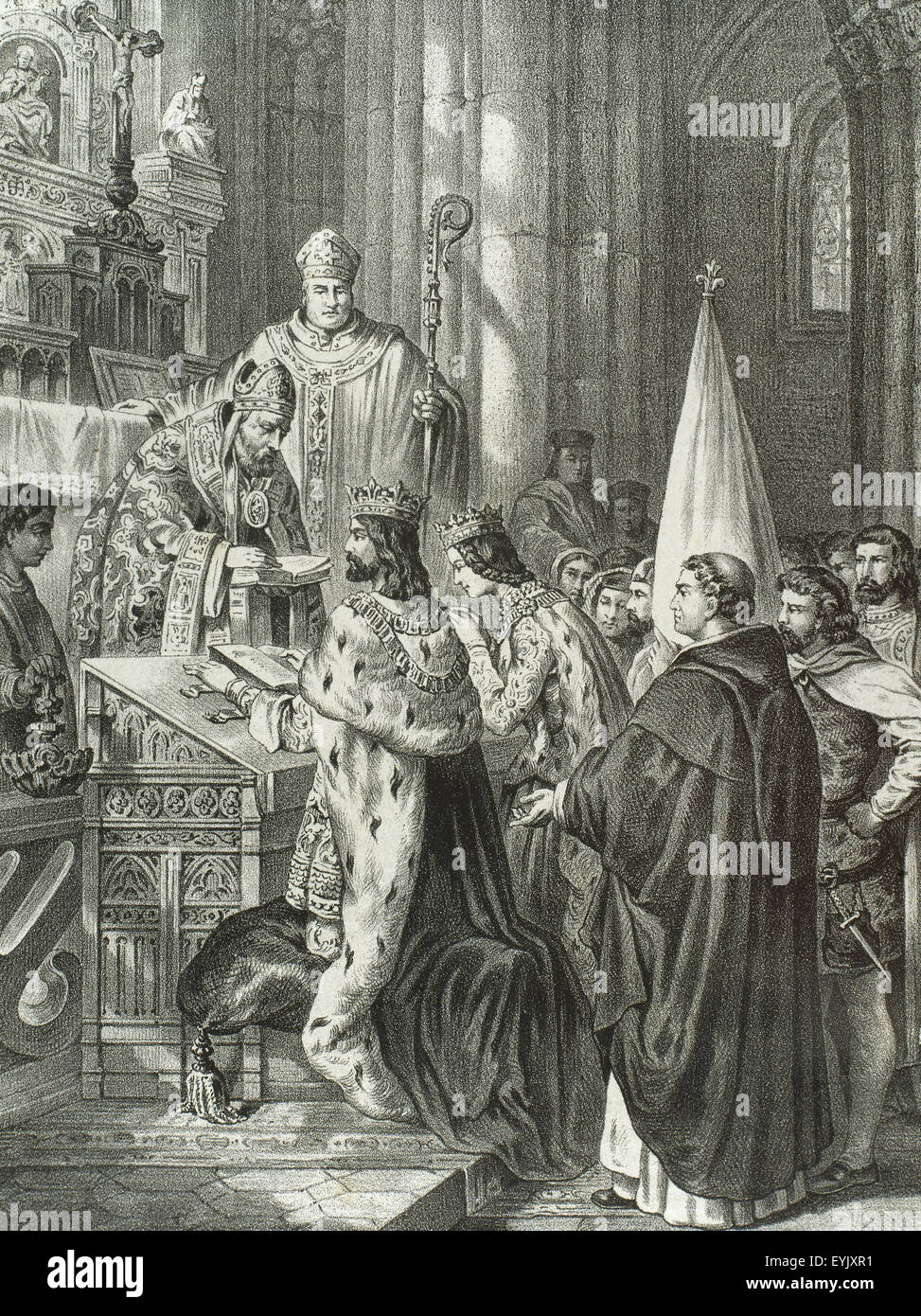 Alfonso III (c.848-910). Called the Great. King of Asturias. Wedding between king Alfonso and Jimena of Pamplona Stock Photo