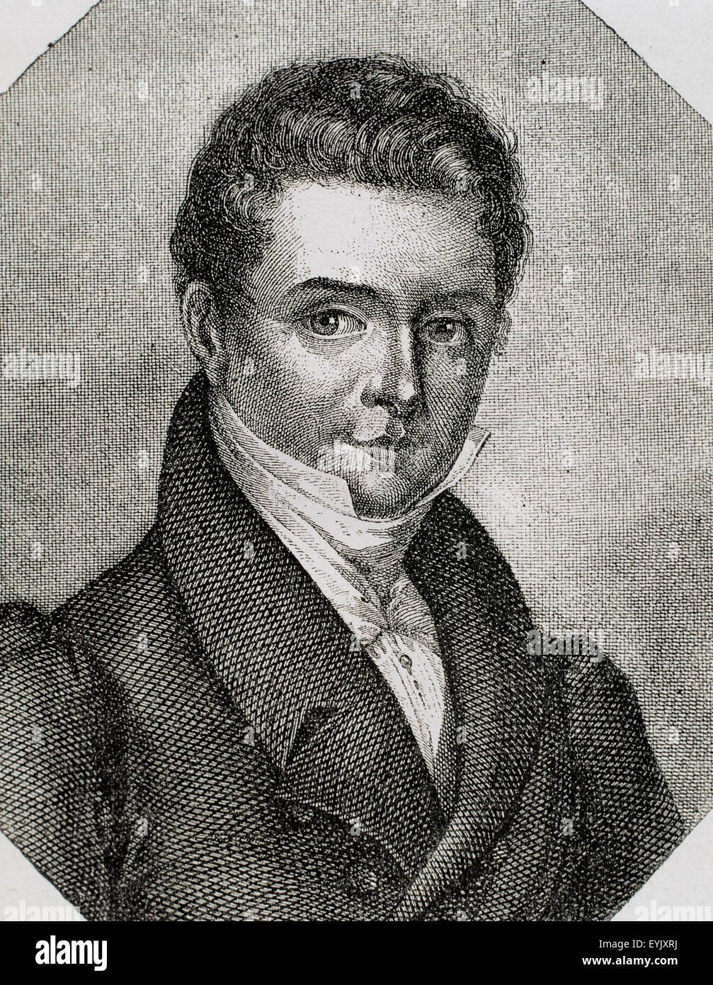 Washington Irving (1783-1859). American writer. Engraving, 19th century. - Stock Image