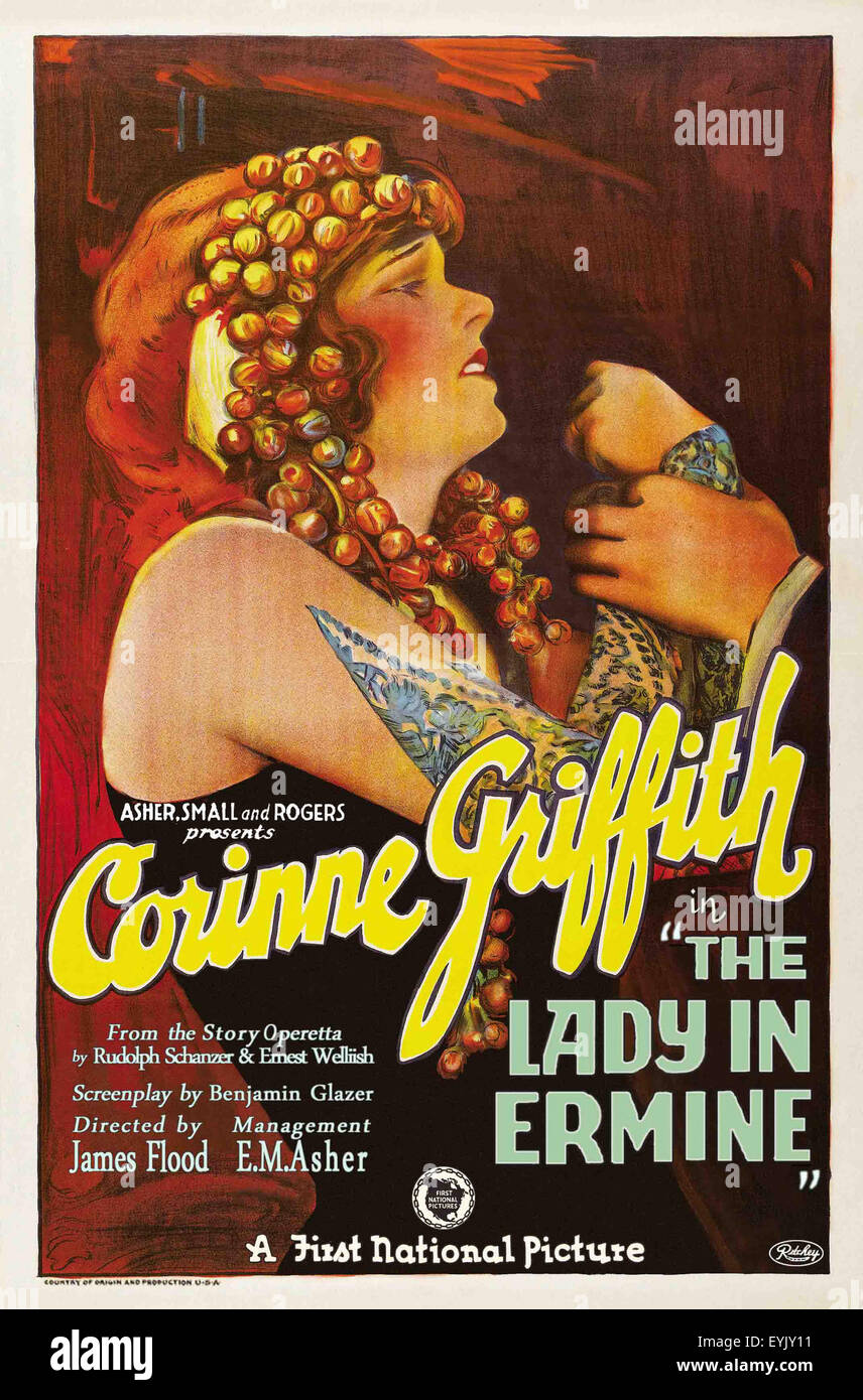 The Lady in Ermine - Corinne Griffith - 1927 - Movie Poster - Stock Image