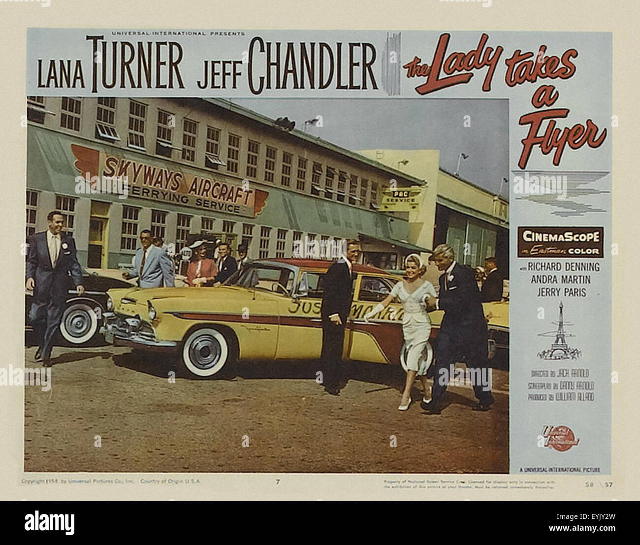 The Lady Takes a Flyer - Lana Turner - Movie Poster - Stock Image