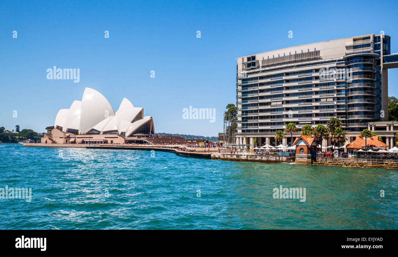 Australia, New South Wales, Sydney, view of Sydney Cove with Circular Quay East and Sydney Opera House at Bennelong - Stock Image
