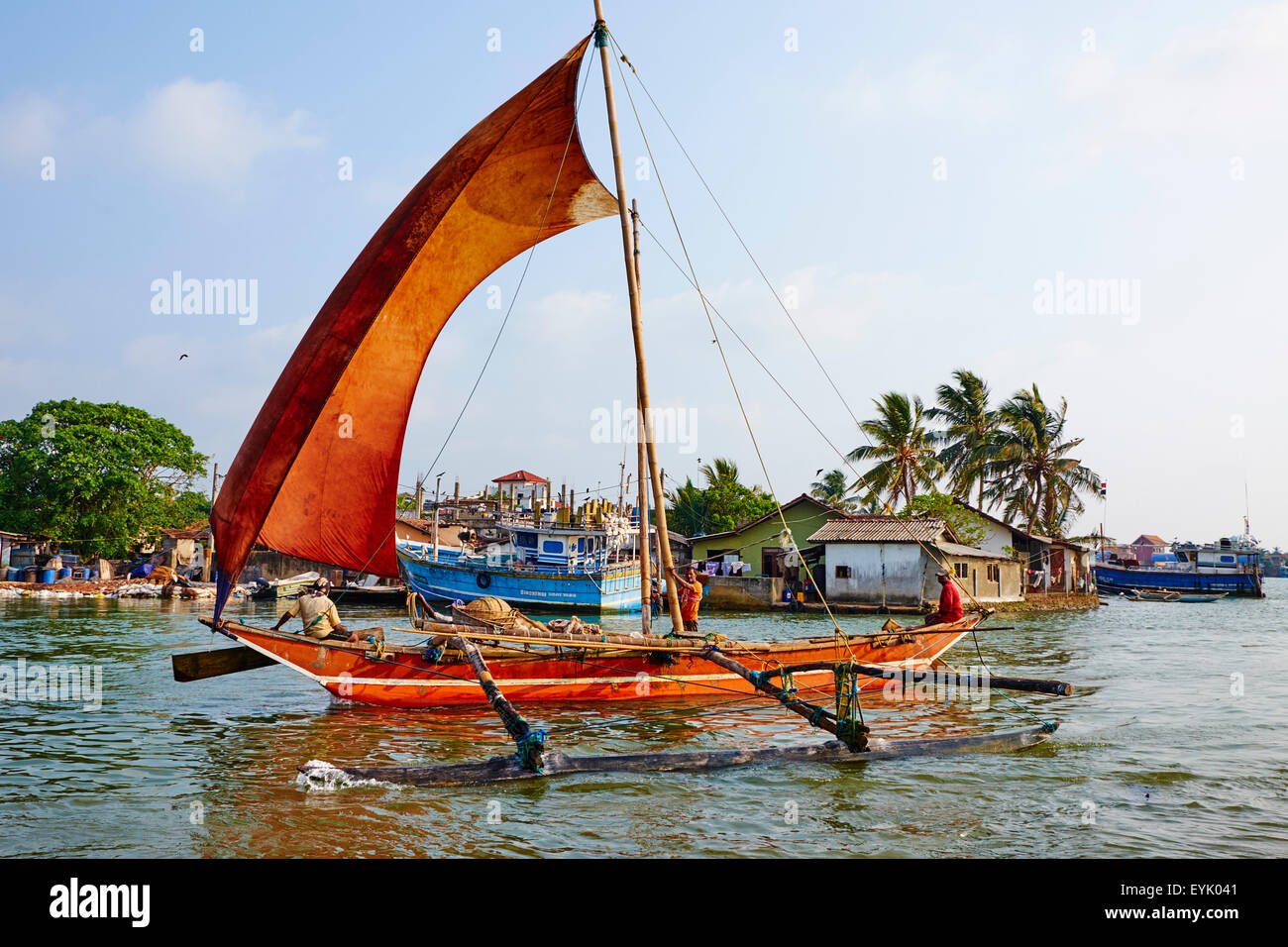 Sri Lanka, Western Province, Negombo, catamaran, Traditional Fishing Boat - Stock Image