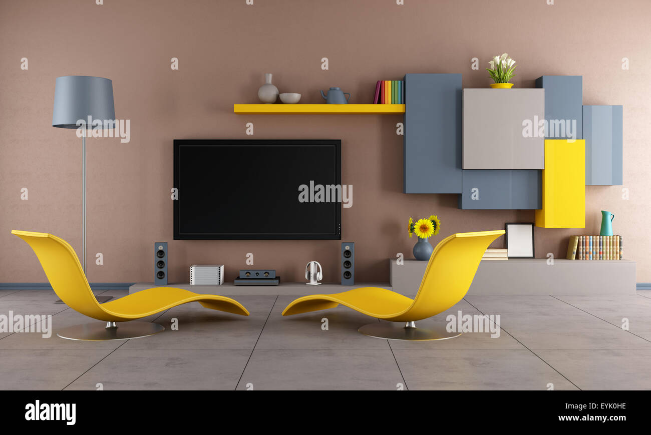 Colorful Living Room With Two Chaise Lounge And Tv Set