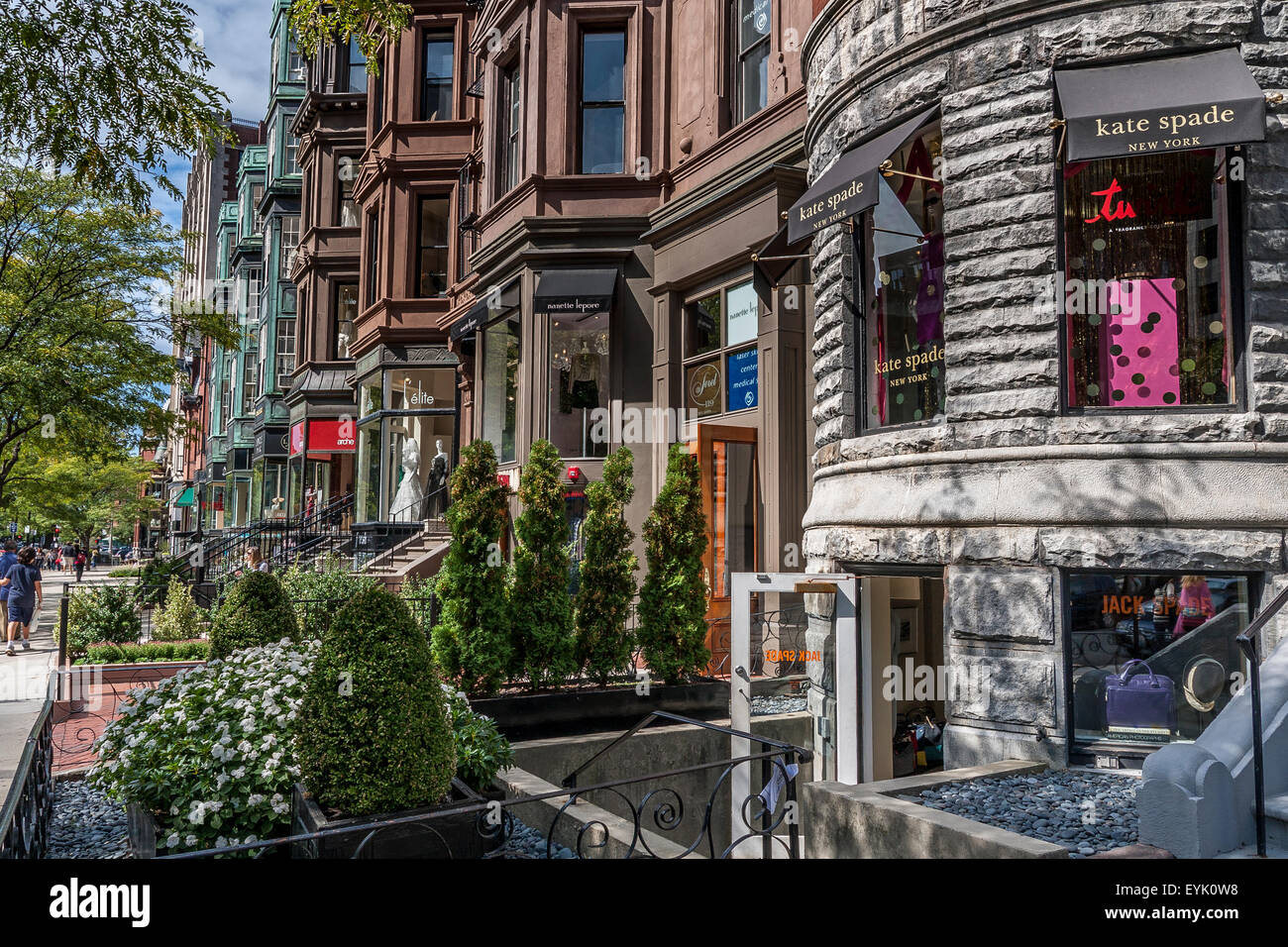 Shoppers and visitors along Newbury Street ,Boston's premier shopping destination, Boston ,Massachusetts Stock Photo