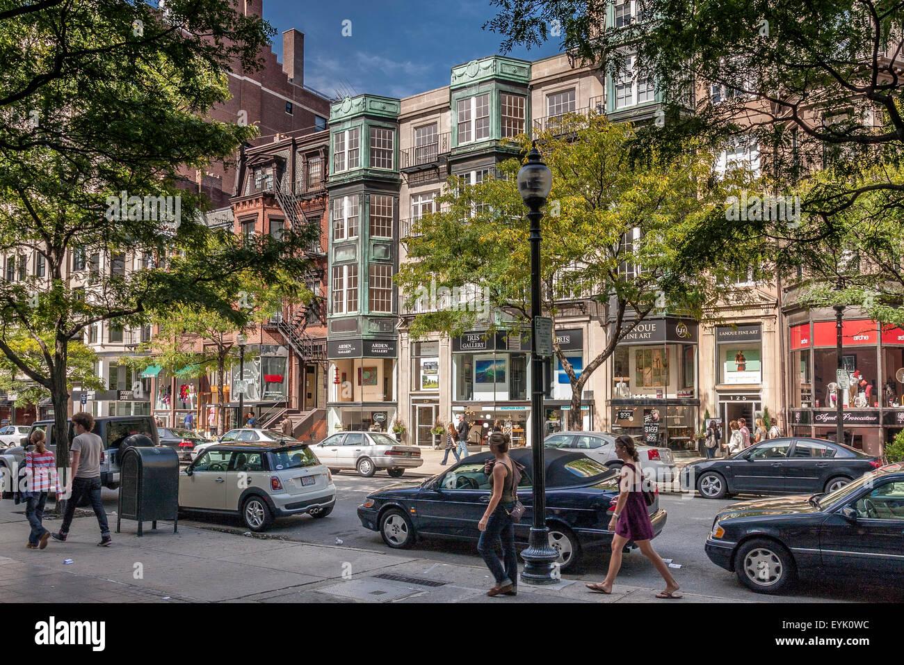 Shoppers and visitors along Newbury Street ,Boston's premier shopping destination, Boston ,Massachusetts Stock Photo