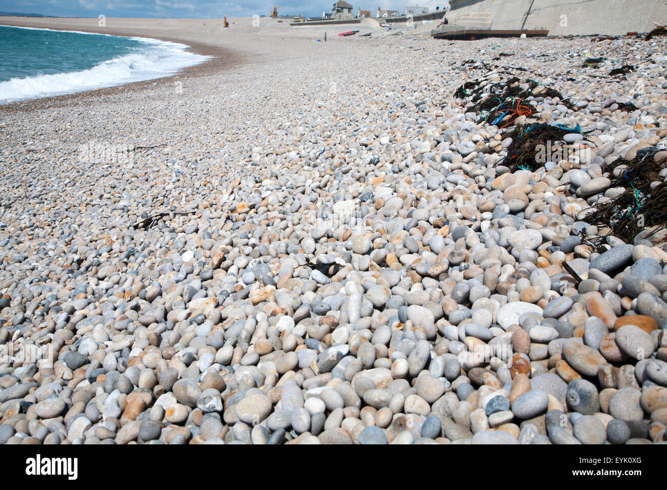 Rounded pebbles on shingle beach, Chesil Beach, Chiswell, Isle of Portland, Dorset, England, UK - Stock Image
