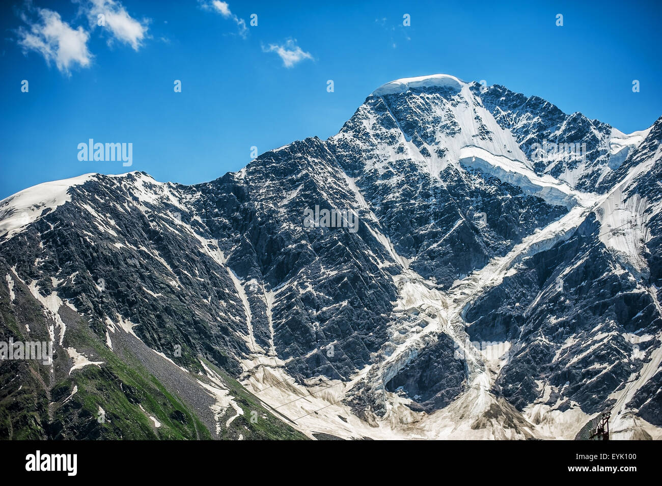 Beautiful landscape of glacier 'Seven' on Mount Donguzorun, Babis Mta. Мiew from Mount Cheget, Kabardino - Stock Image
