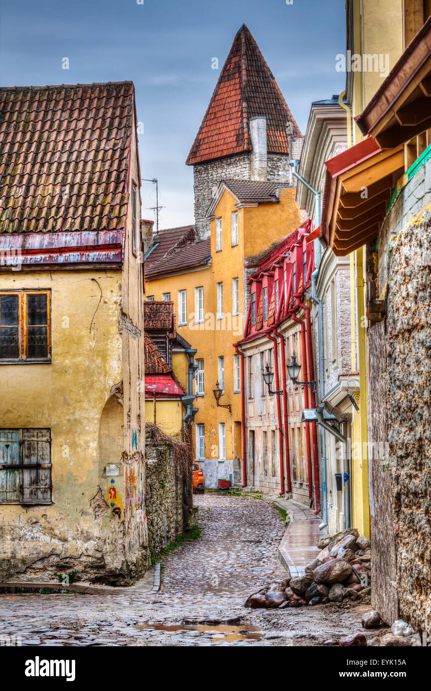 Tallinn Old Town street, Estonia. High Dynamic Range (HDR) image - Stock Image