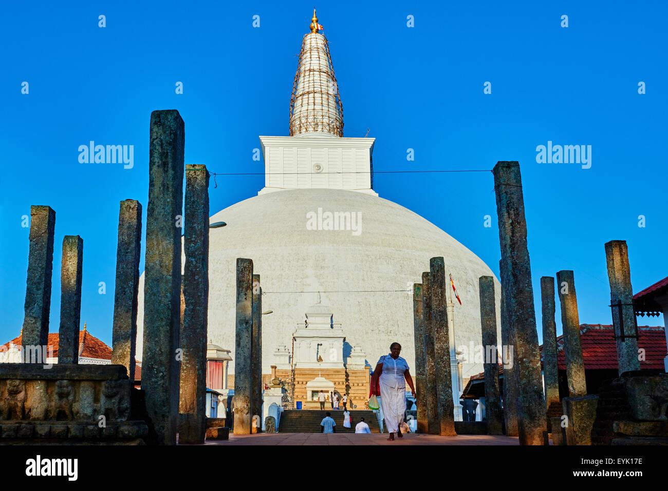 Sri Lanka, North Central Province, Anuradhapura, historic capital of Sri Lanka, UNESCO World Heritage Site, Ruvanvelisaya Stock Photo
