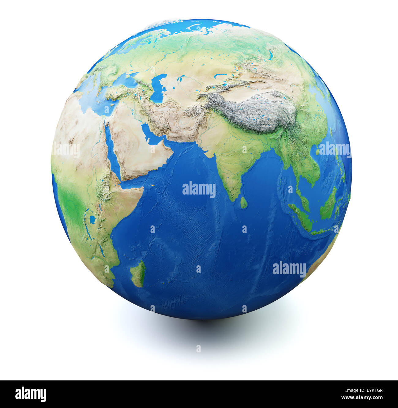Earth Map India Earth isolated on white background with soft shadow. Focus on