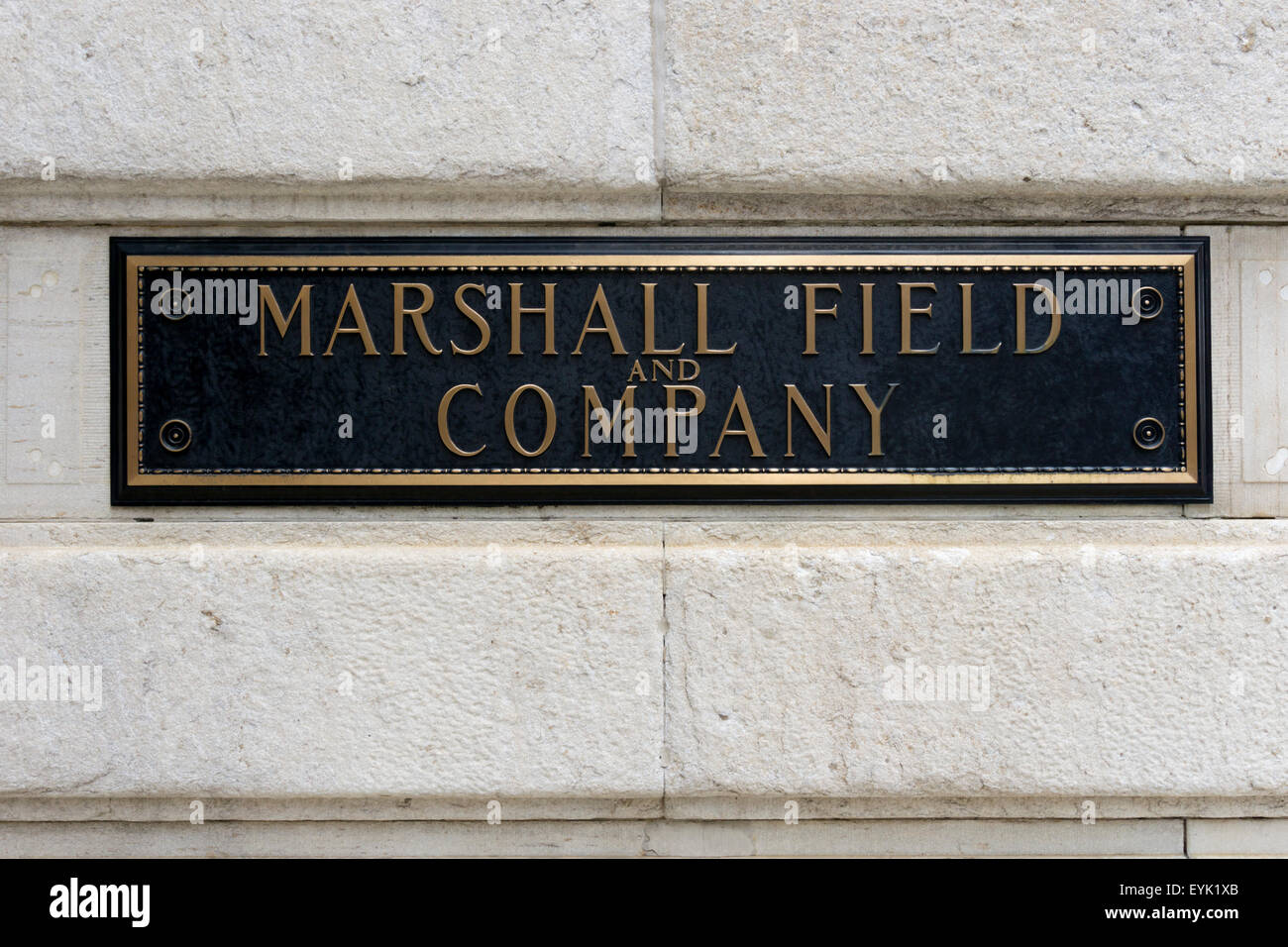 Marshall Field and Company nameplate on the company's former store on State Street, Chicago. It is now a branch - Stock Image