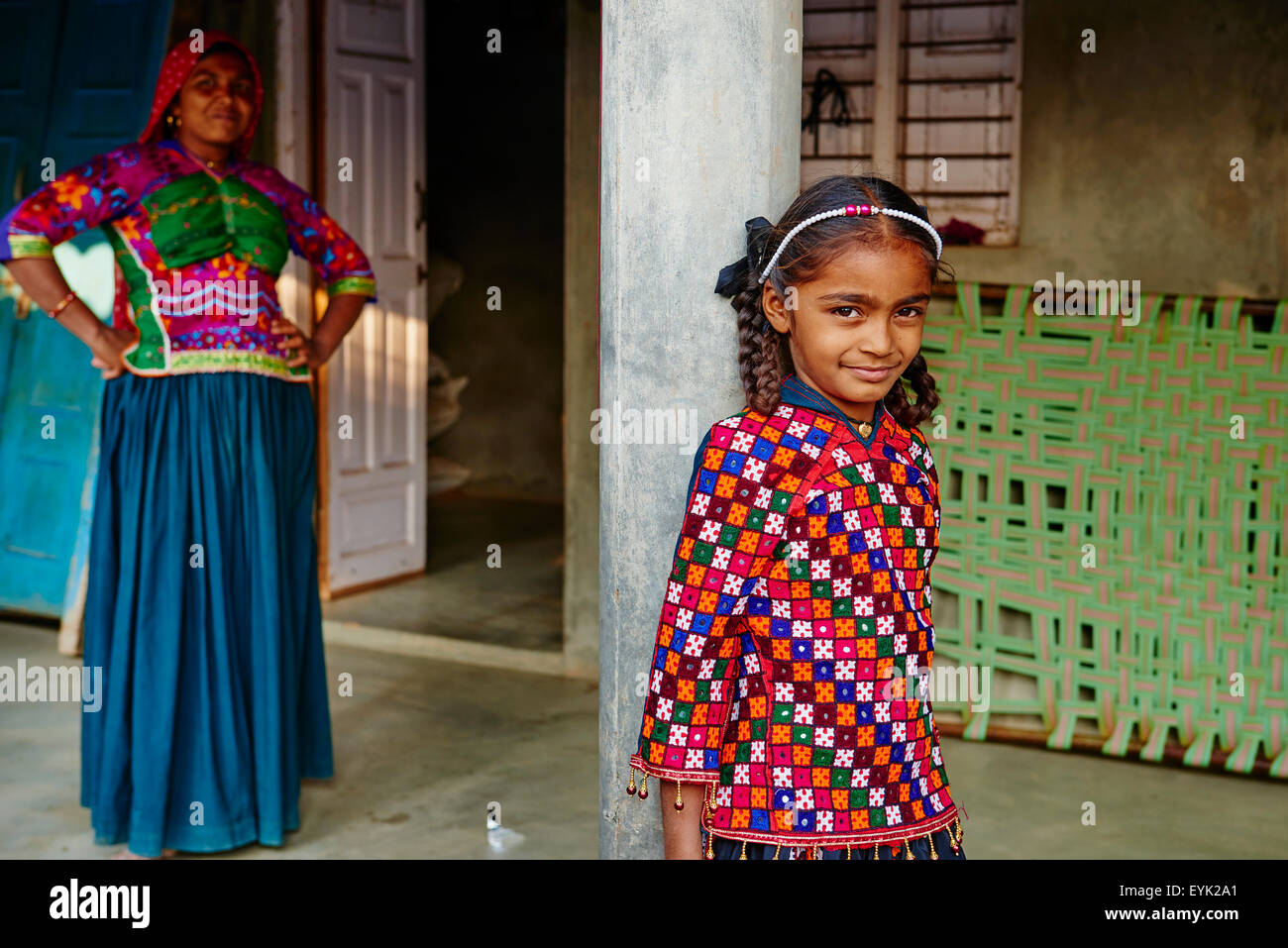 India, Gujarat, Kutch, Dhrang village, Ahir ethnic group - Stock Image