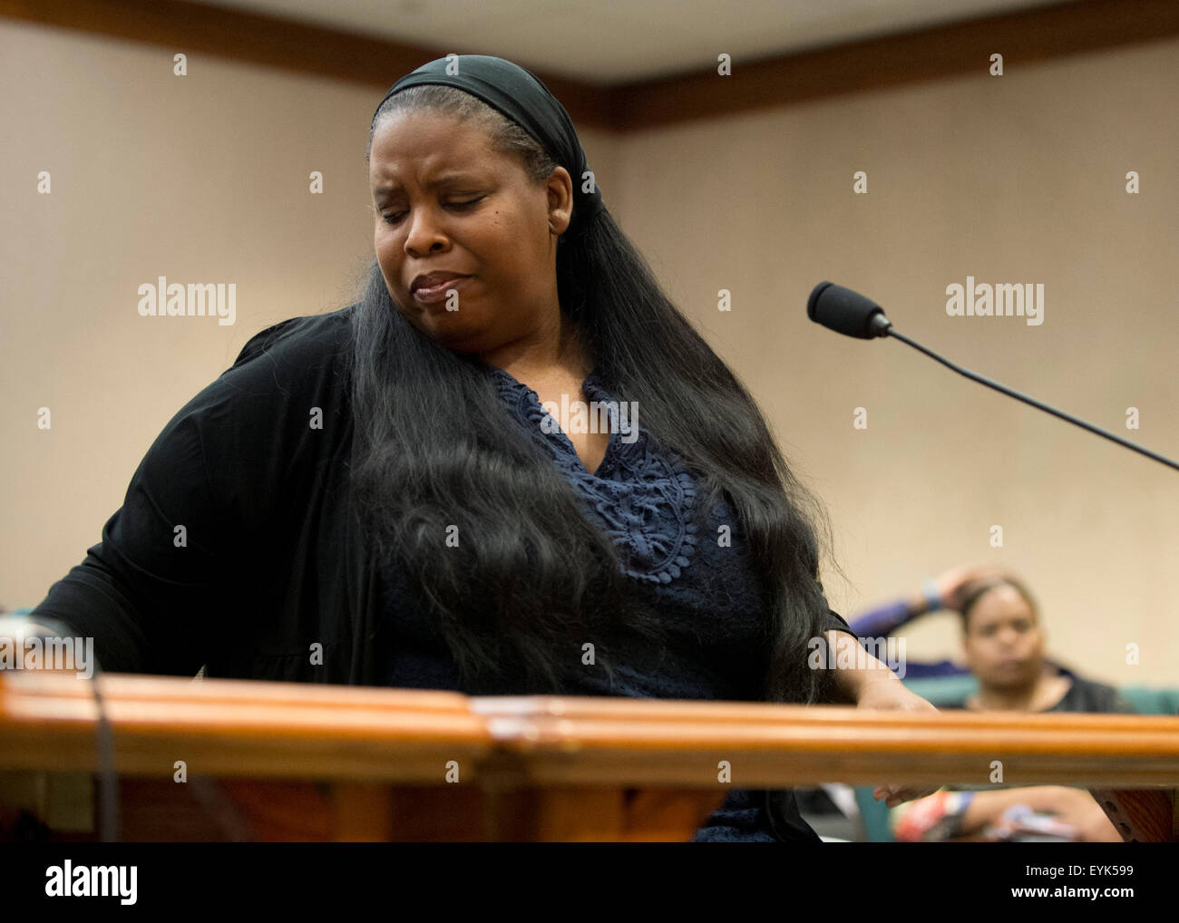 Austin, Texas USA July 30, 2015: Janet Baker, who lost a son in a Texas police shooting in Houston, speaks as Texas - Stock Image
