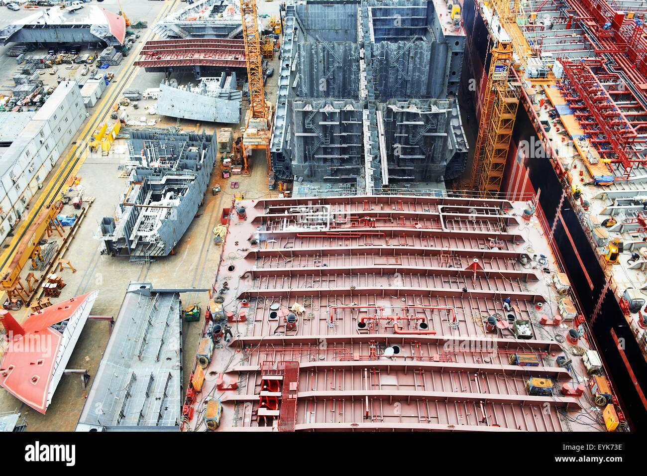 Shipping port, elevated view, GoSeong-gun, South Korea - Stock Image