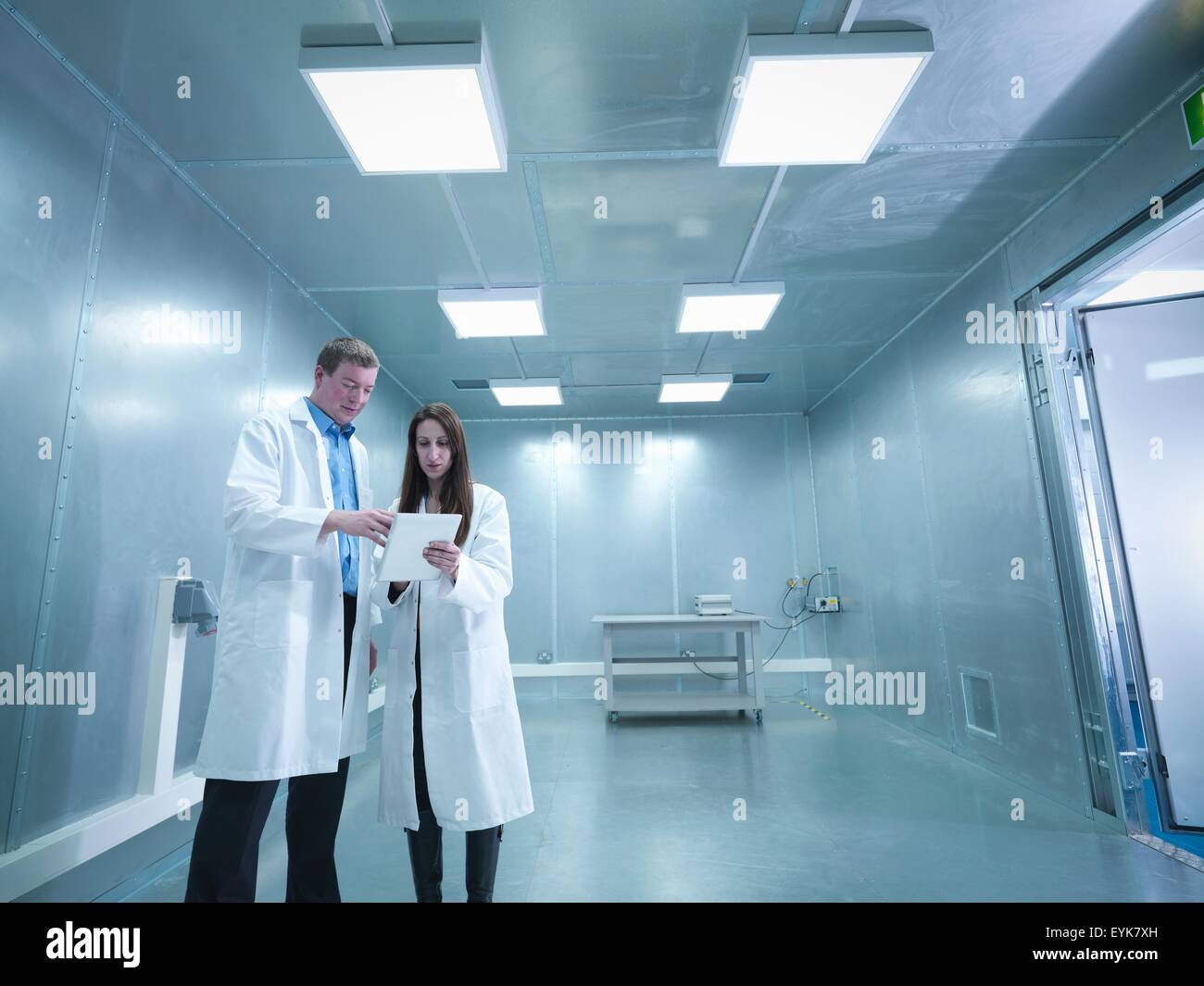 Radio frequency engineers in a screened room - Stock Image