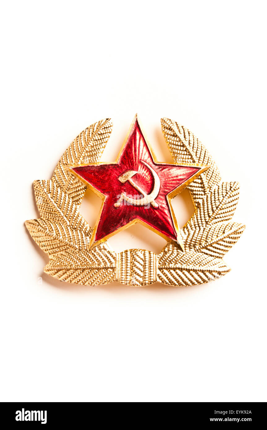 communist star with hammer and sickle symbols from USSR - Stock Image