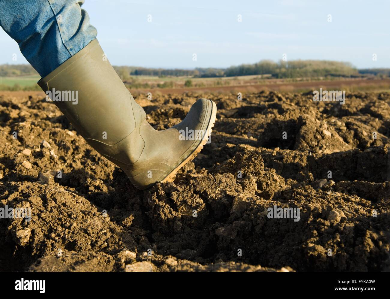 Close up of farmers rubber boot walking on ploughed field Stock Photo