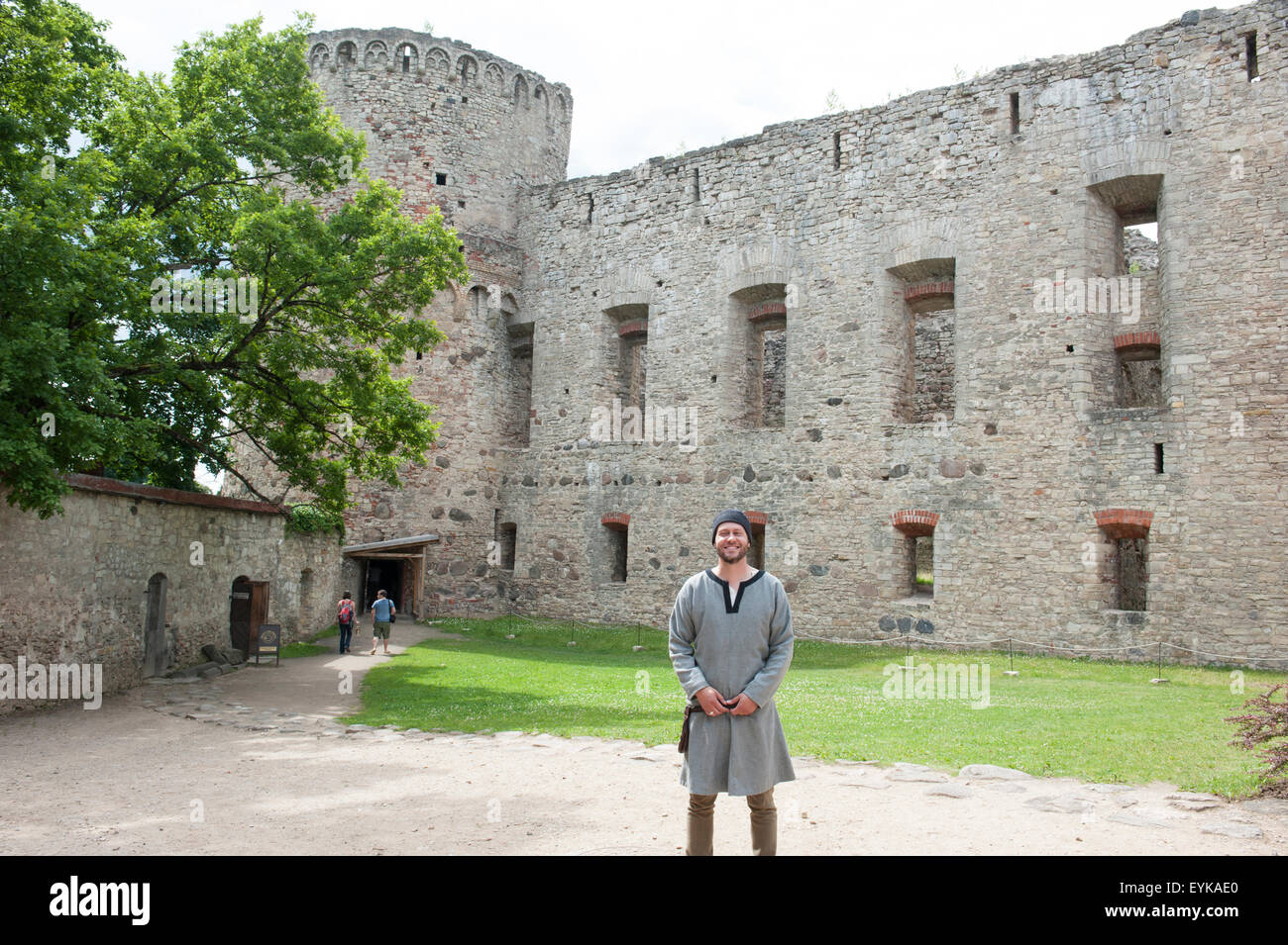 A costumed interpreter at Cesis Medieval Castle in Latvia. July 16, 2015 - Stock Image