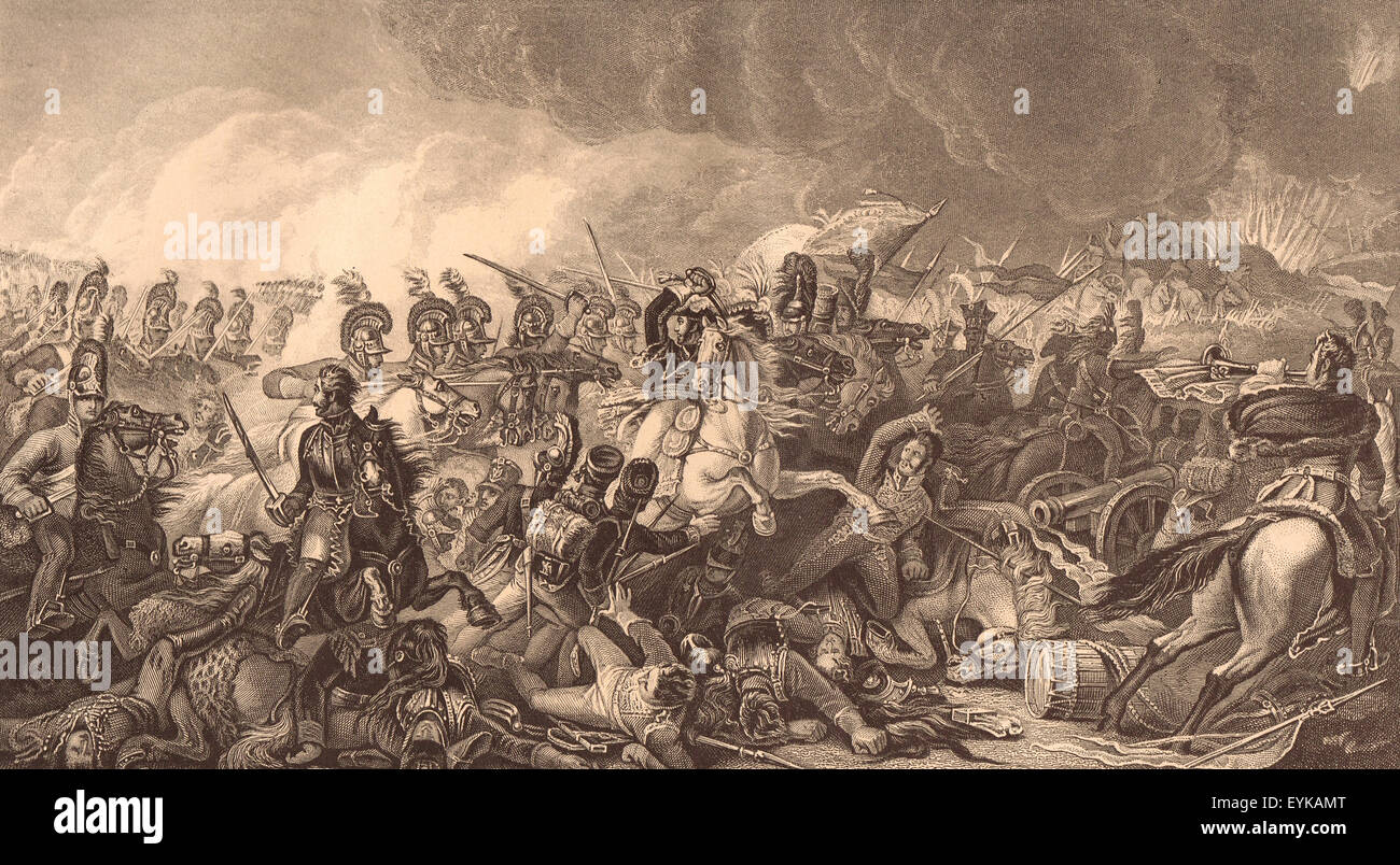 Charge of the Guards at Waterloo 1815 - Stock Image