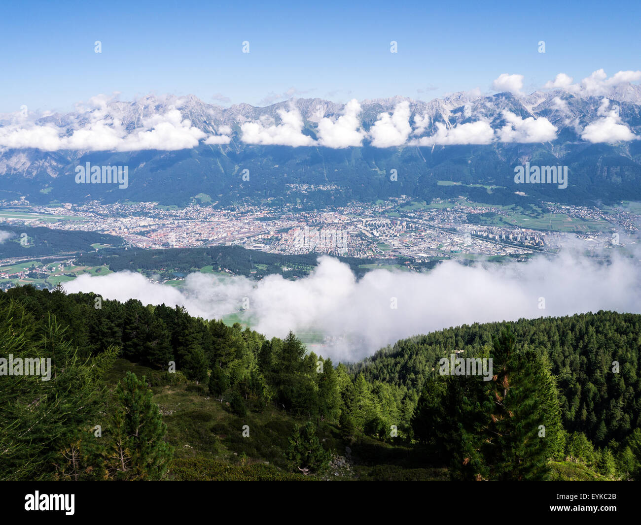 View of Innsbruck, Tirol, from Patscherkofel looking out over Nordkette Stock Photo