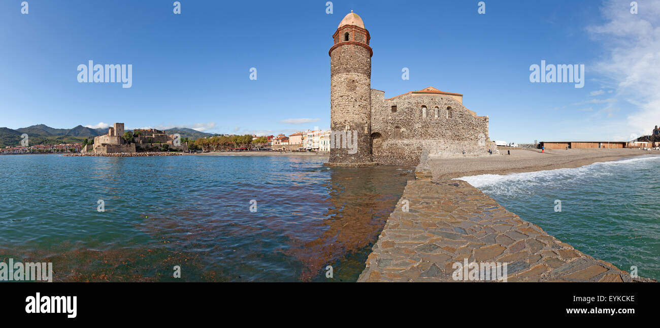 Panorama of the Eglise Notre Dame des Anges in Collioure, France. Stock Photo