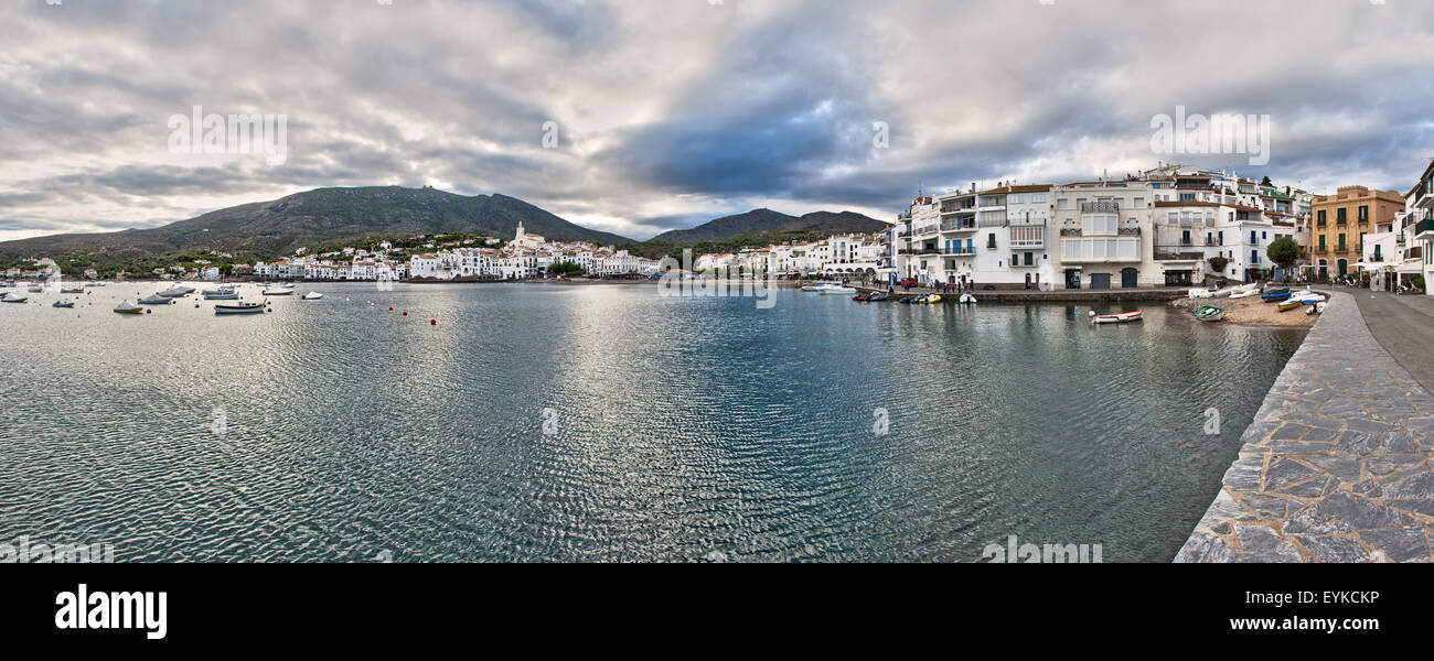 Wide panorama of Cadaqués on Spain's Costa Brava. Stock Photo