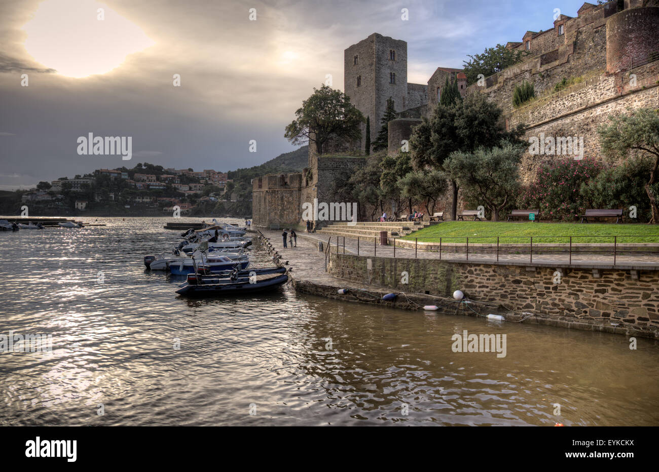 The historical Chateau at Collioure in France. Stock Photo