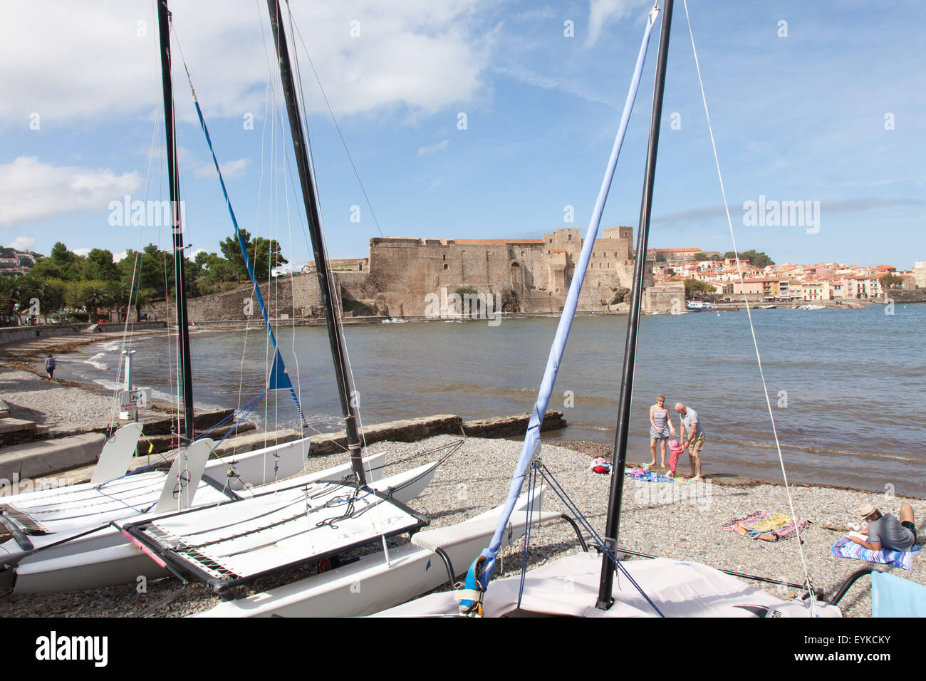 The bay and Royal Chateau of Colliour in Southern France. Stock Photo