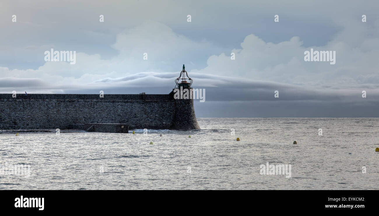 Collioure's Jetée Du Phare during stormy weather Stock Photo