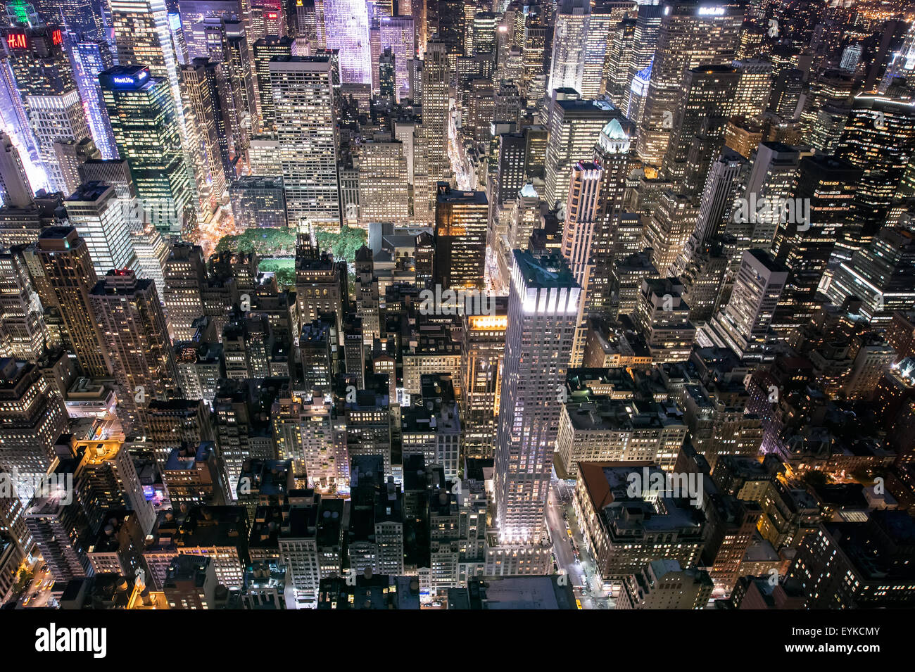 Midtown Manhattan (New York) lit up from above. Stock Photo