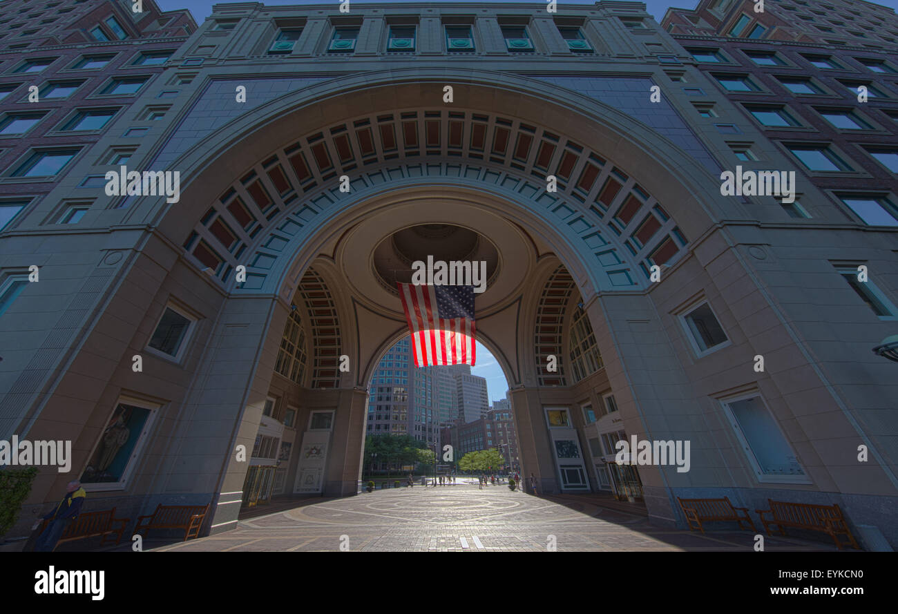 The famous arch and flag at the Boston Harbor Hotel on Rowes Wharf, Boston. Stock Photo