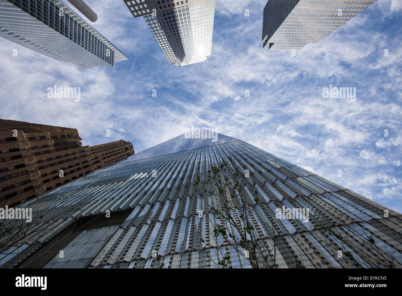 Looking up at the One World Trade Center Tower in New York City Stock Photo
