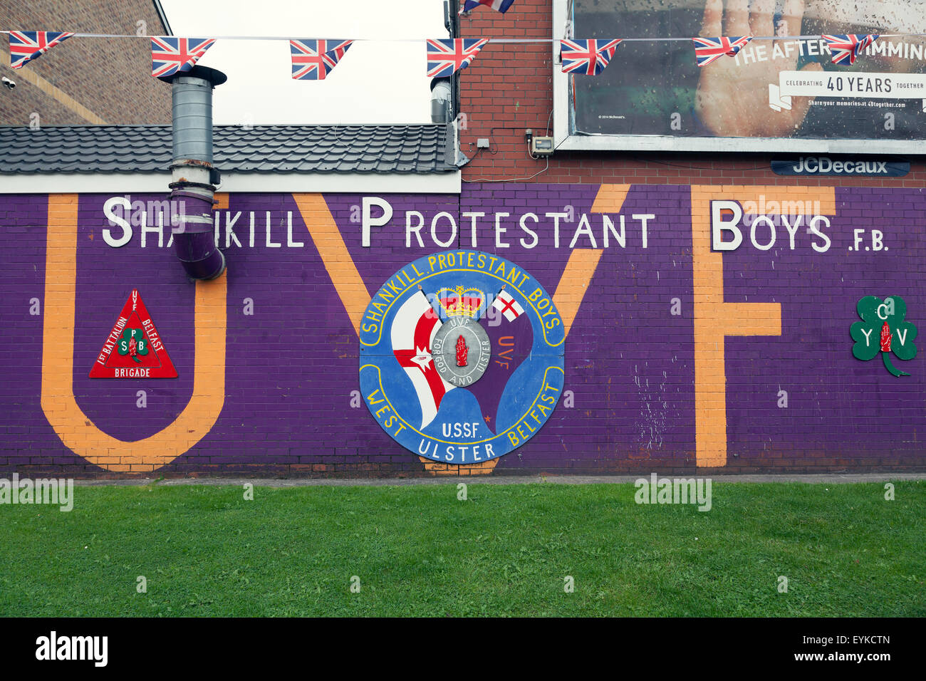 Loyalist mural on the Shankill Road in west Belfast, Northern Ireland - Stock Image