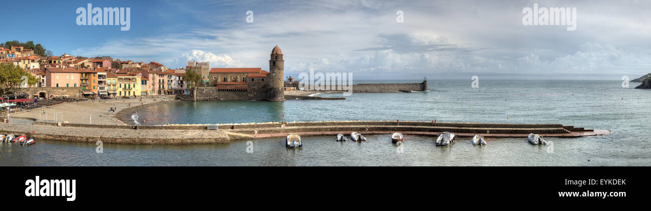 Wide Panorama of Collioure in France Stock Photo