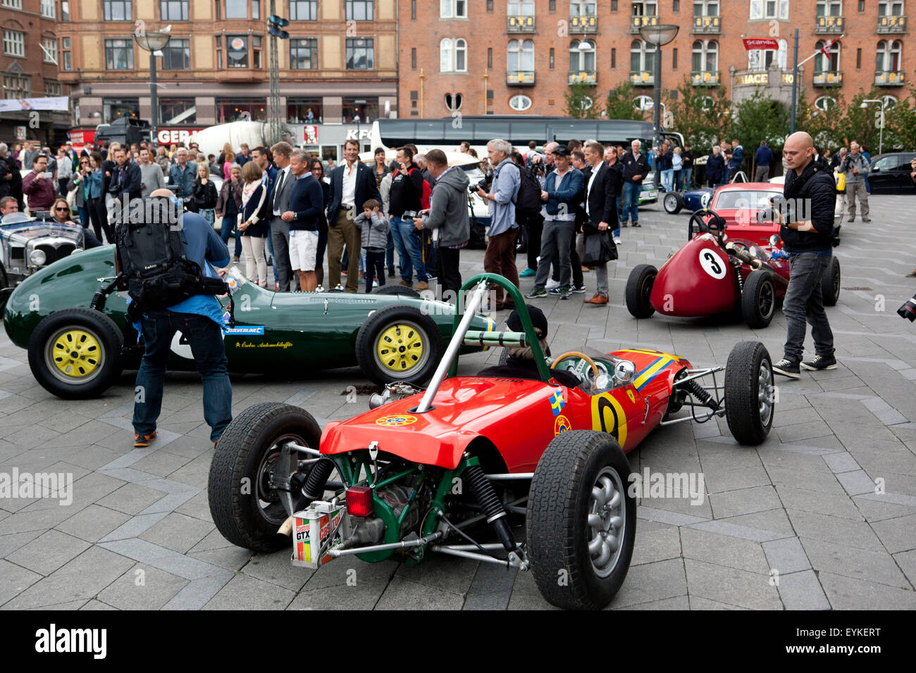 Copenhagen, Denmark, July 31st, 2015. Old race cars drives away from ...