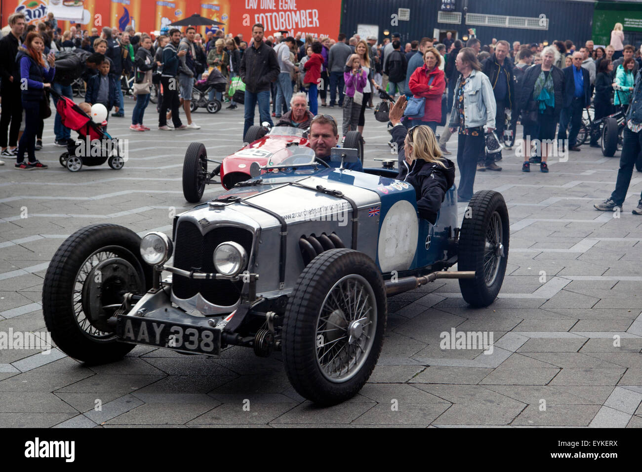 Copenhagen, Denmark, July 31st, 2015. An old race cars drives away ...