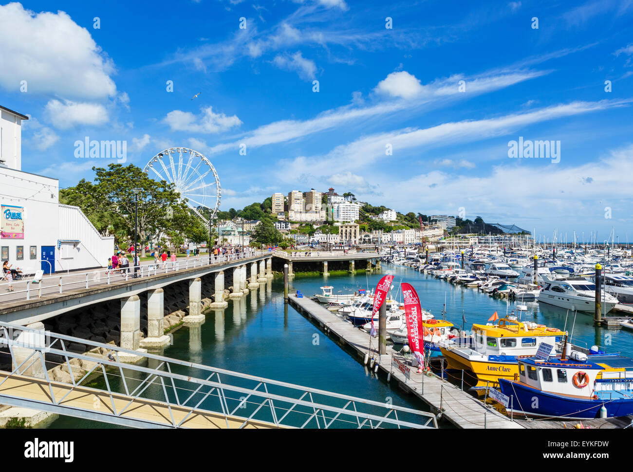 The marina and promenade in Torquay, Torbay, Devon, England, UK - Stock Image
