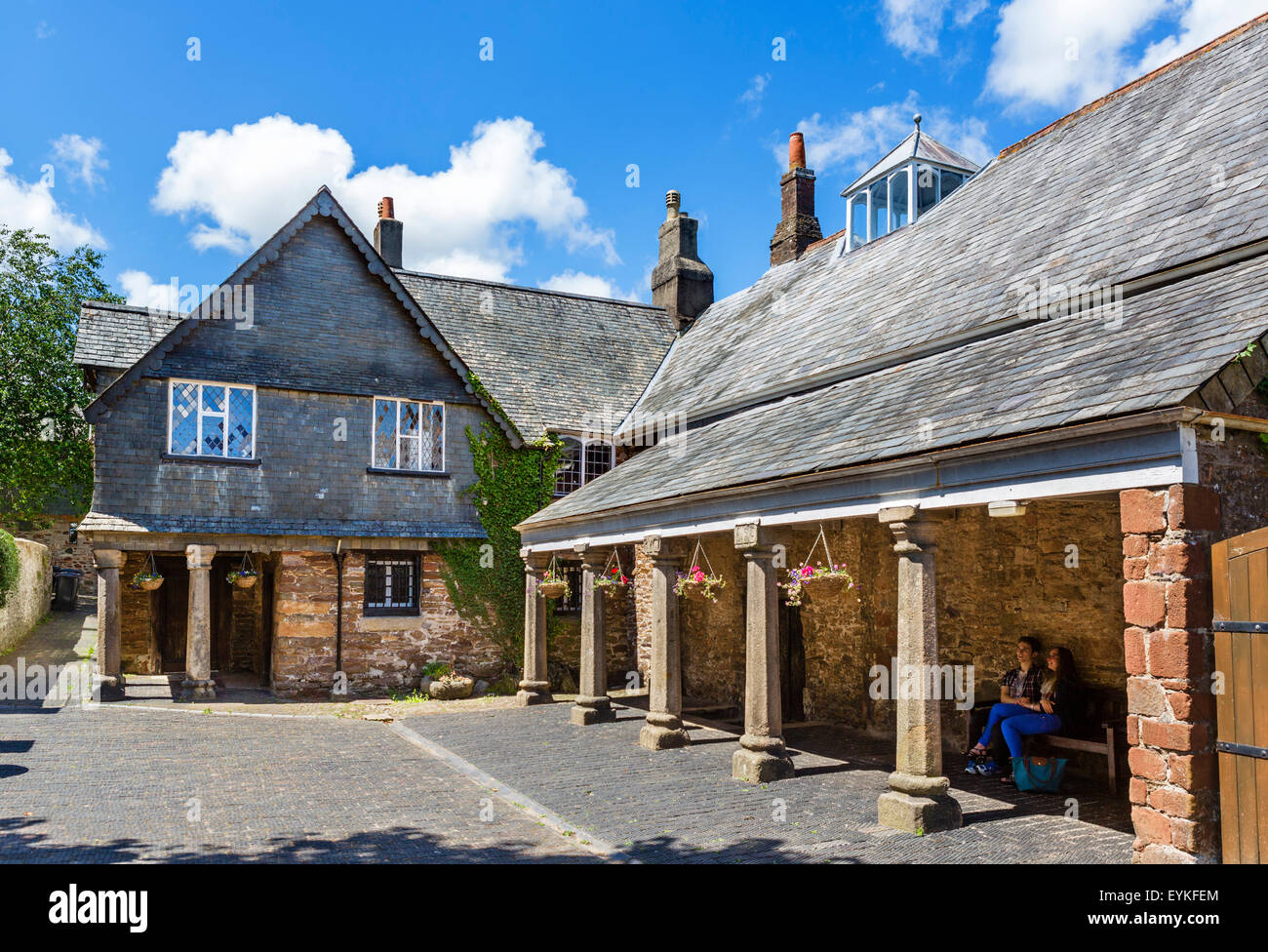 The historic 16thC Tudor Guildhall in Totnes, associated with Oliver Cromwell and the Civil War, Devon, England, - Stock Image