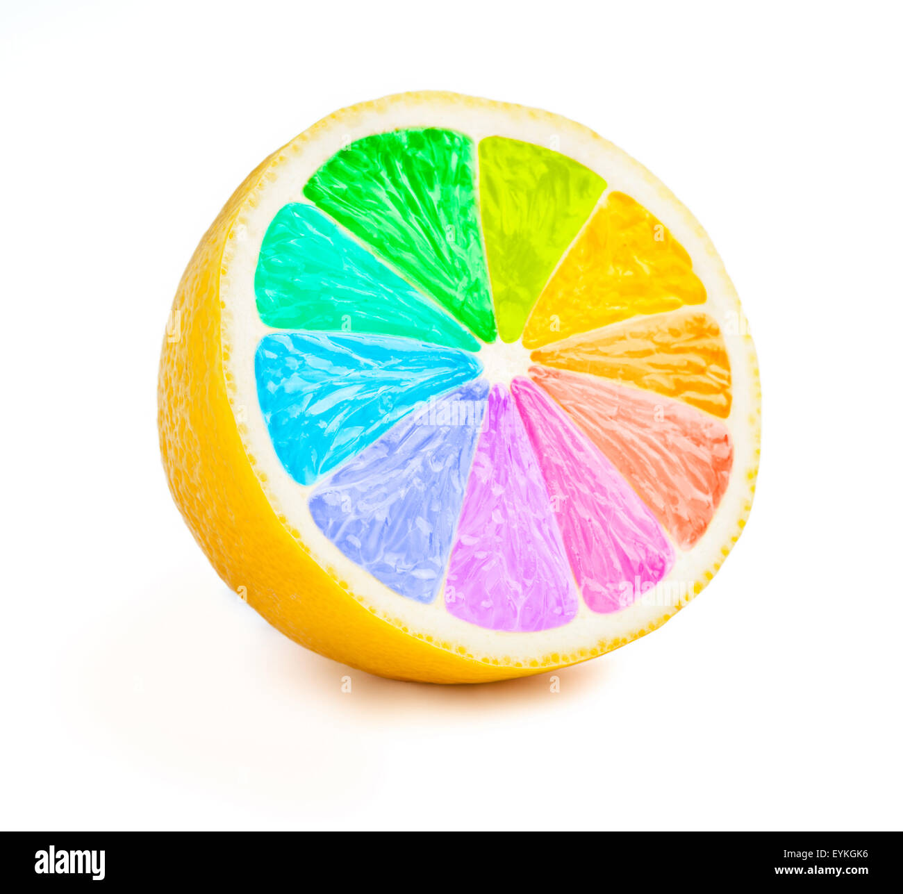 Lemon cut half slice with color wheel rainbow colors isolated on white background Stock Photo