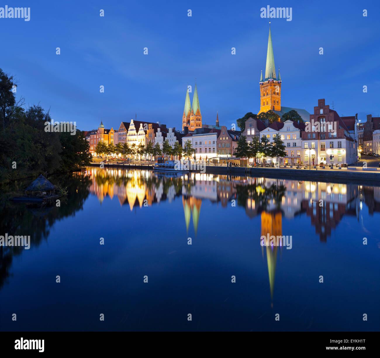 Marien's church, Peter's church, Trave, Lübeck, Schleswig-Holstein, Germany - Stock Image