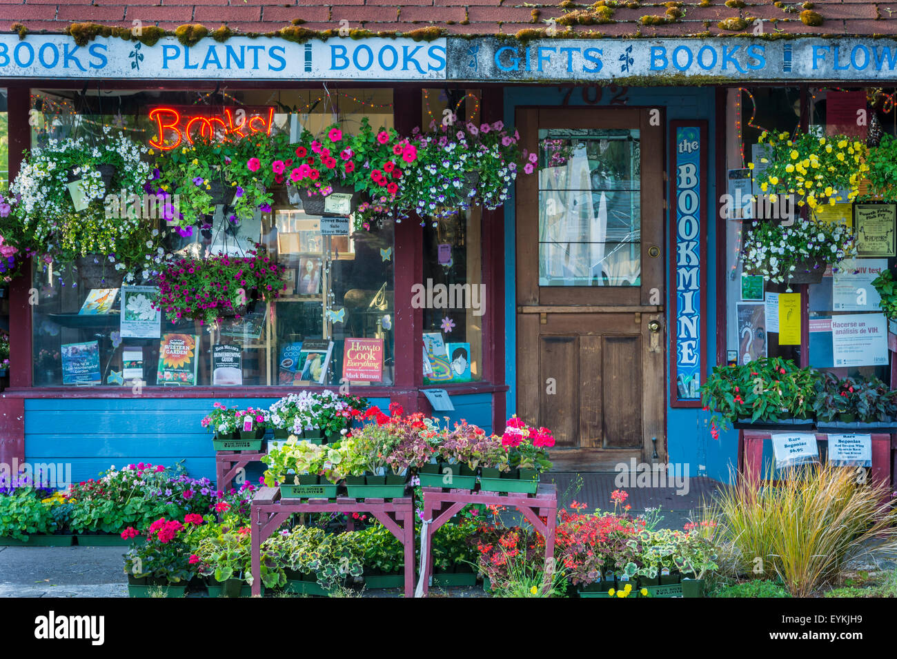 The Bookmine bookstore and plant store on Main Street in Cottage Grove, Oregon. - Stock Image